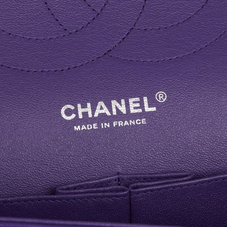 2016 Chanel Purple Quilted Lambskin Jumbo Classic Double Flap Bag  For Sale 6