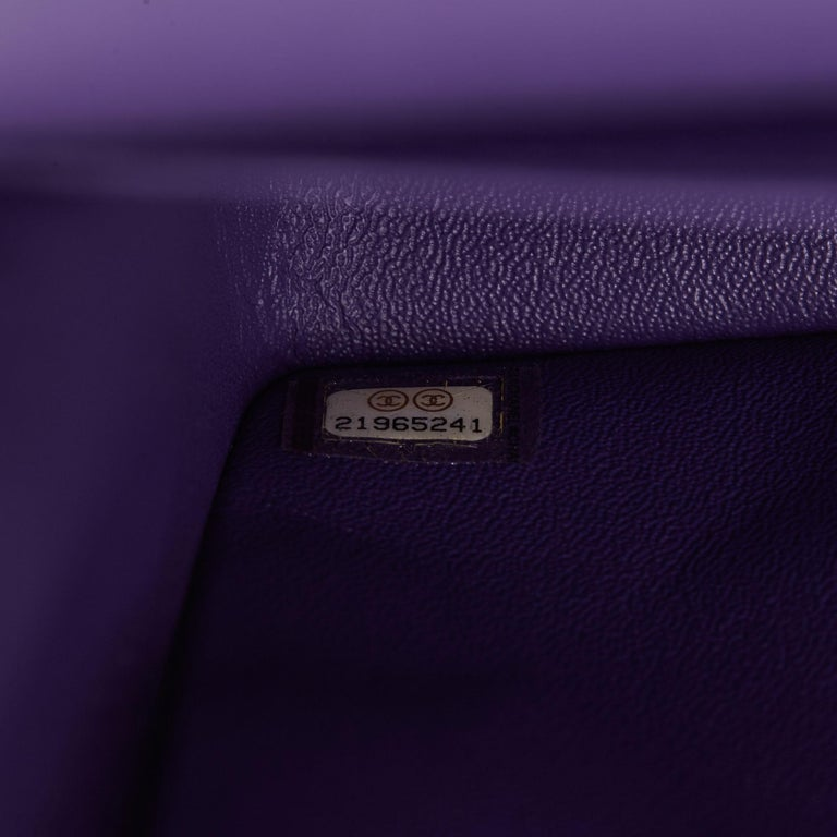 2016 Chanel Purple Quilted Lambskin Jumbo Classic Double Flap Bag  For Sale 7