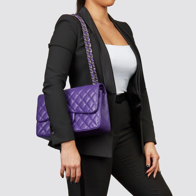 CHANEL Purple Quilted Lambskin Jumbo Classic Double Flap Bag  Xupes Reference: CB229 Serial Number: 21965241 Age (Circa): 2016 Accompanied By: Chanel Dust Bag, Box, Care Booklet, Authenticity Card Authenticity Details: Serial Sticker (Made in