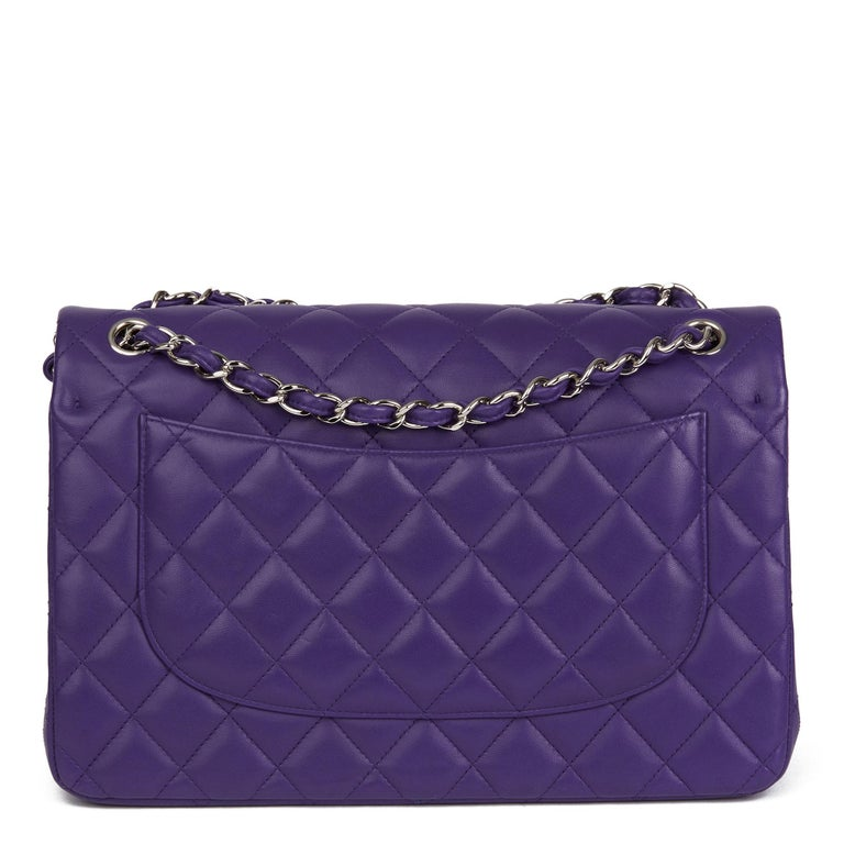 2016 Chanel Purple Quilted Lambskin Jumbo Classic Double Flap Bag  For Sale 1