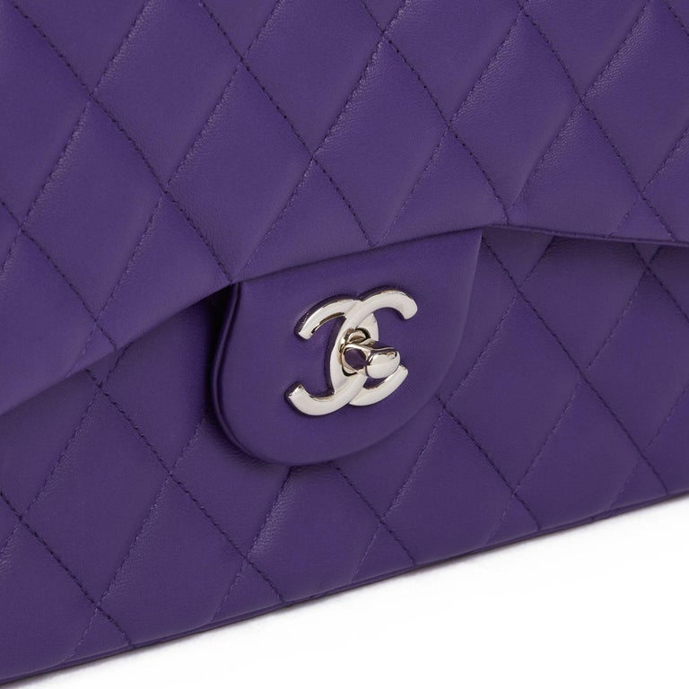 2016 Chanel Purple Quilted Lambskin Jumbo Classic Double Flap Bag  For Sale 3