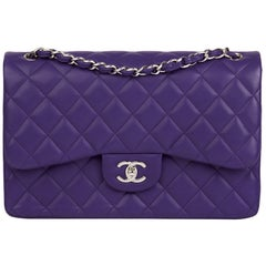 2016 Chanel Purple Quilted Lambskin Jumbo Classic Double Flap Bag