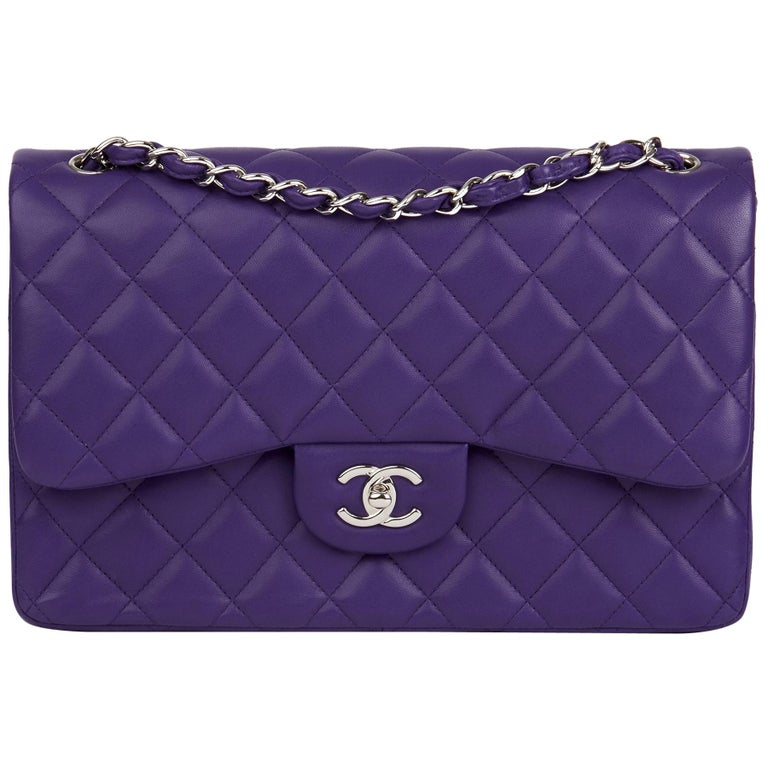 2016 Chanel Purple Quilted Lambskin Jumbo Classic Double Flap Bag  For Sale