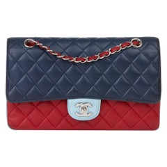 2016 Chanel Red, Navy & Light Blue Lambskin Medium Classic Double Flap Bag