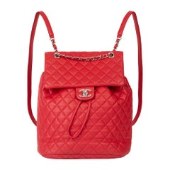 2016 Chanel Red Quilted Lambskin Large Urban Spirit Backpack