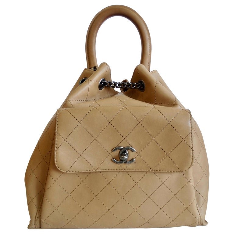 2016 Chanel Tan Quilted Drawstring Backpack  For Sale