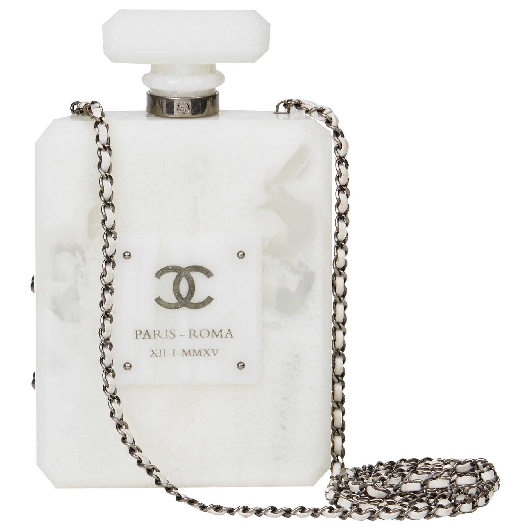2016 Chanel White Marble Plexiglass Paris-Rome Perfume Bottle Bag