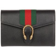 2016 Gucci Black Calfskin Leather Web Mini Dionysus Wallet on Chain