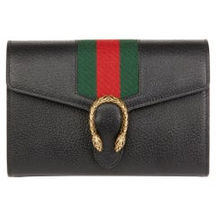 2016 Gucci Black Calfskin Leather Web Mini Dionysus Wallet on Chain