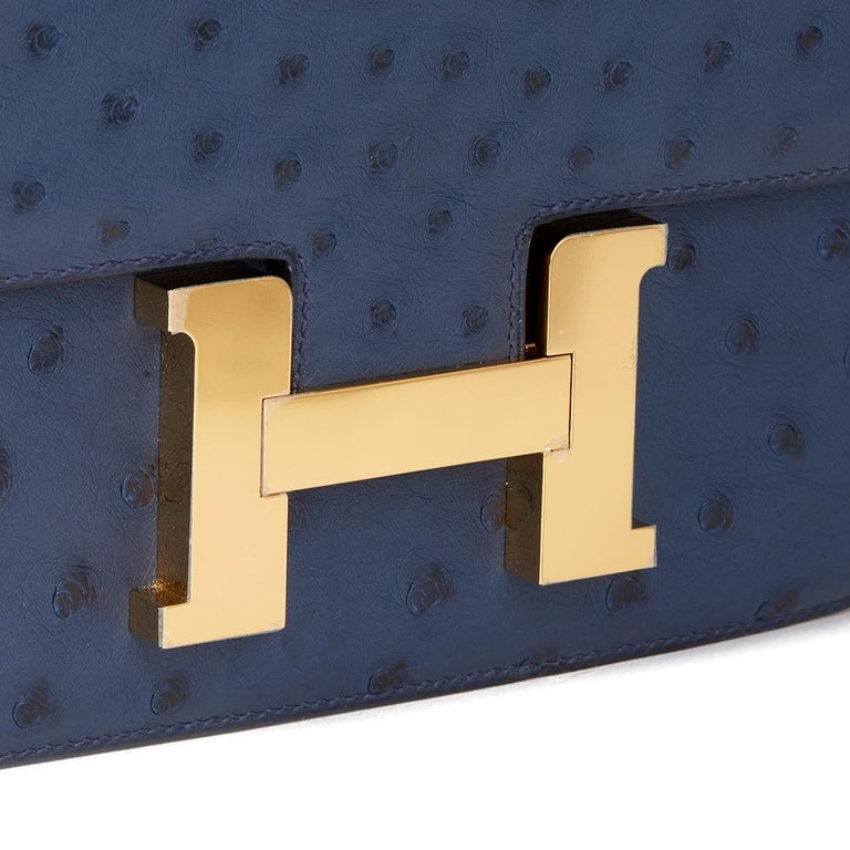 2016  Hermès Bleu de Malte Ostrich Leather Special Order Constance 24 For Sale 8