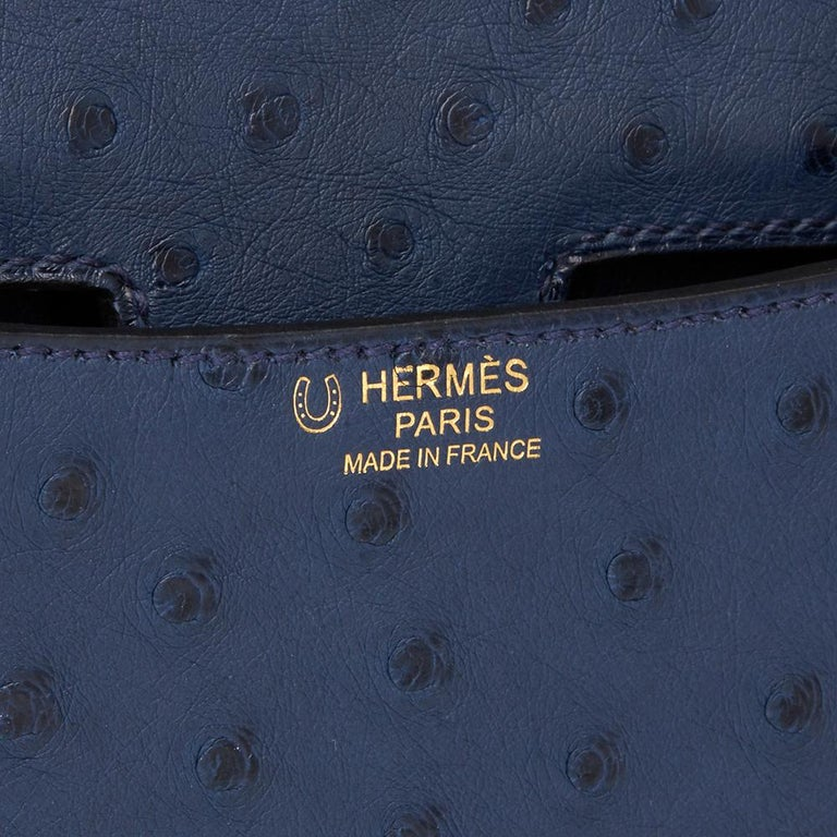 2016  Hermès Bleu de Malte Ostrich Leather Special Order Constance 24 For Sale 10