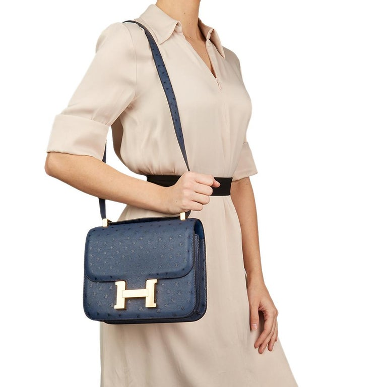 2016  Hermès Bleu de Malte Ostrich Leather Special Order Constance 24 For Sale 3