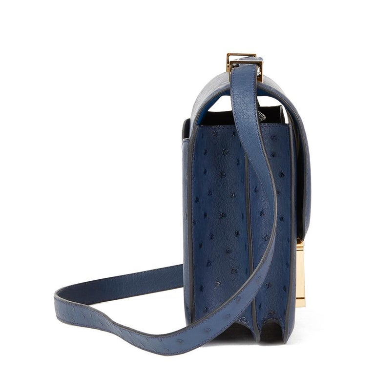 2016  Hermès Bleu de Malte Ostrich Leather Special Order Constance 24 For Sale 4