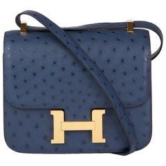 2016  Hermès Bleu de Malte Ostrich Leather Special Order Constance 24