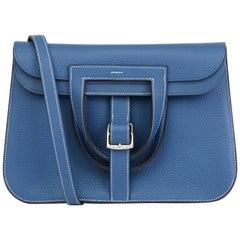 2016 Hermès Blue Agate Clemence Leather Halzan 31cm