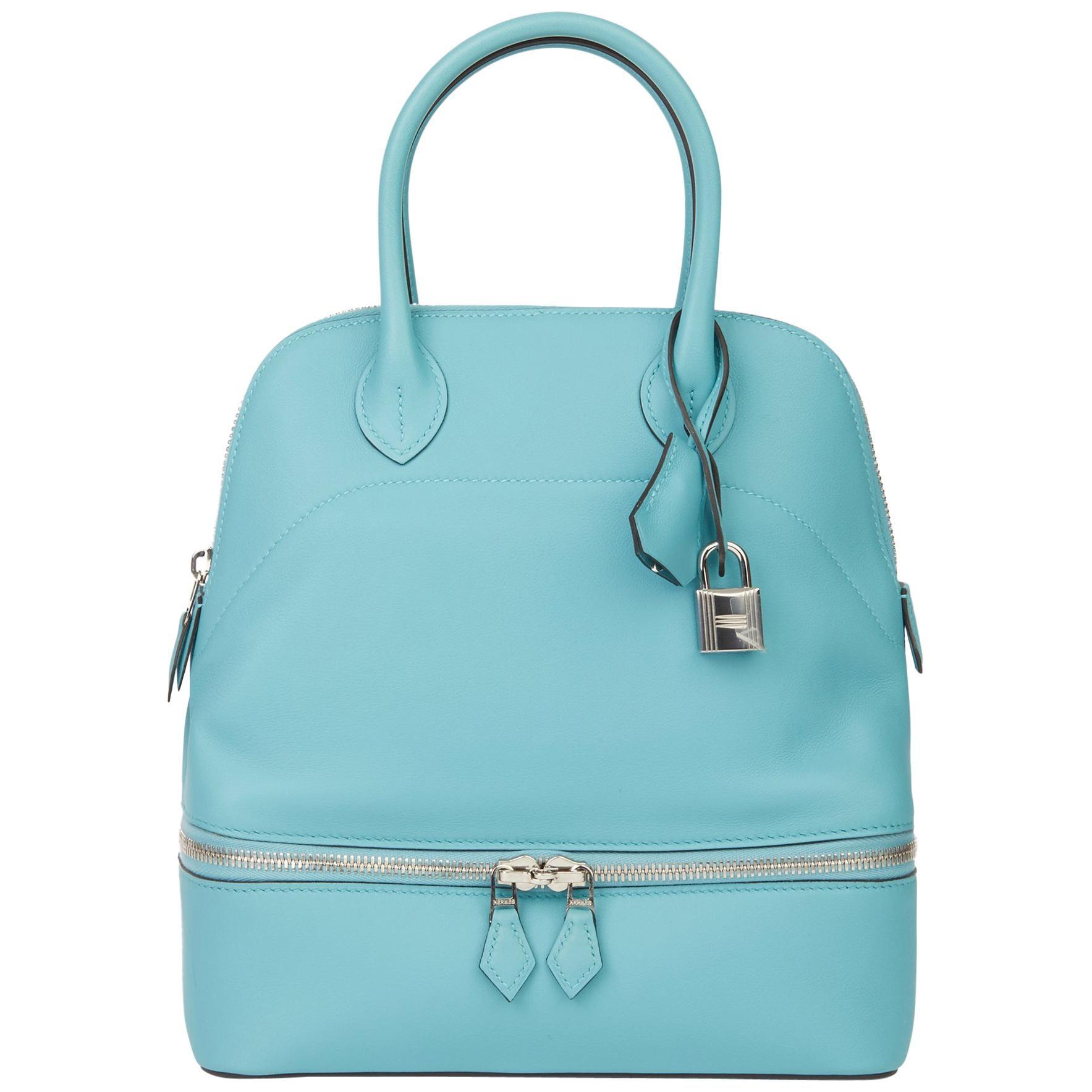 2016 Hermès Blue Atoll Swift Leather Bolide Secret