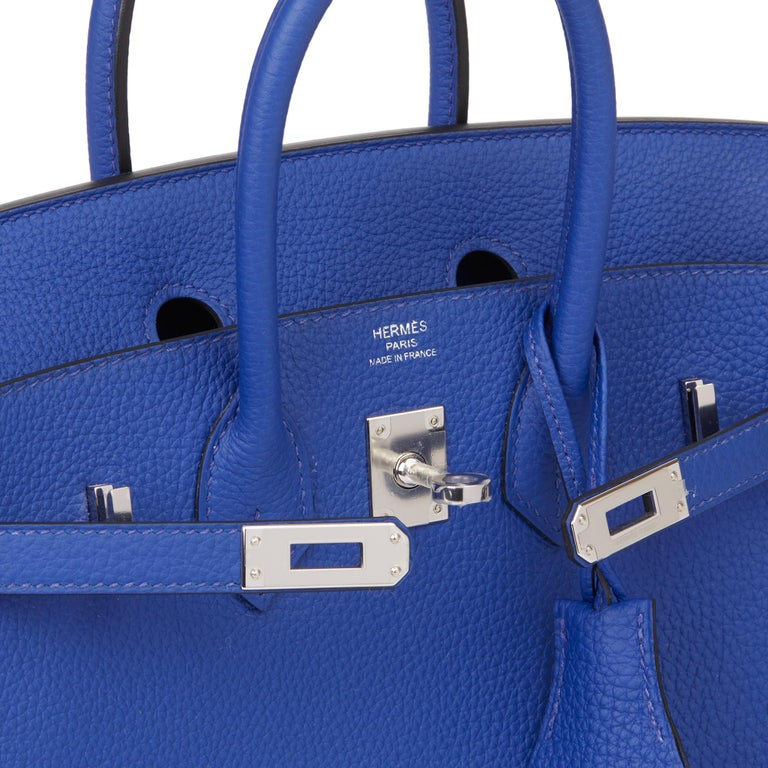 2016 Hermès Blue Electric Togo Leather Birkin 25cm 4