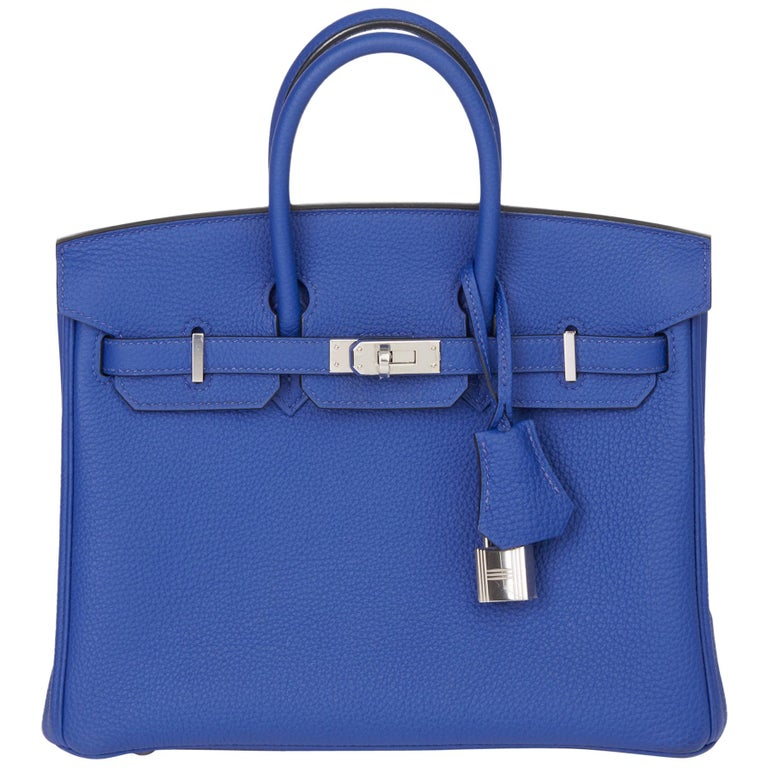 2016 Hermès Blue Electric Togo Leather Birkin 25cm