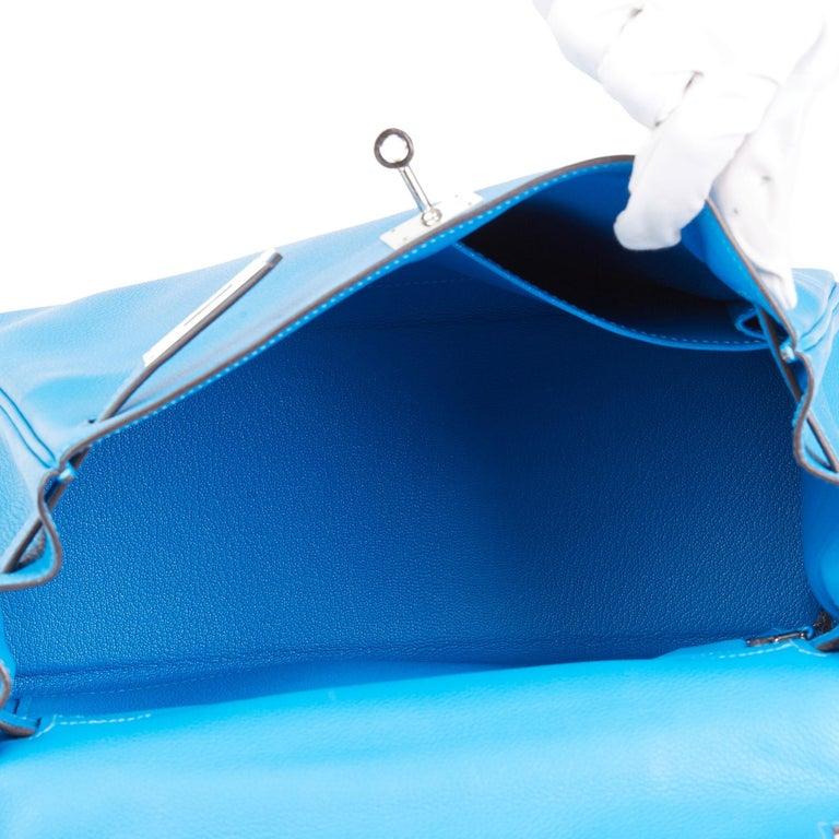 2016  Hermès Blue Hydra Evercolour Leather Kelly 28cm Retourne   For Sale 6