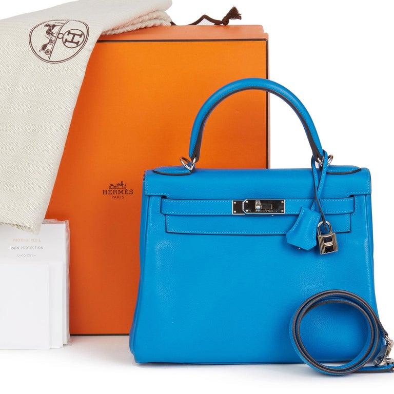 2016  Hermès Blue Hydra Evercolour Leather Kelly 28cm Retourne   For Sale 7