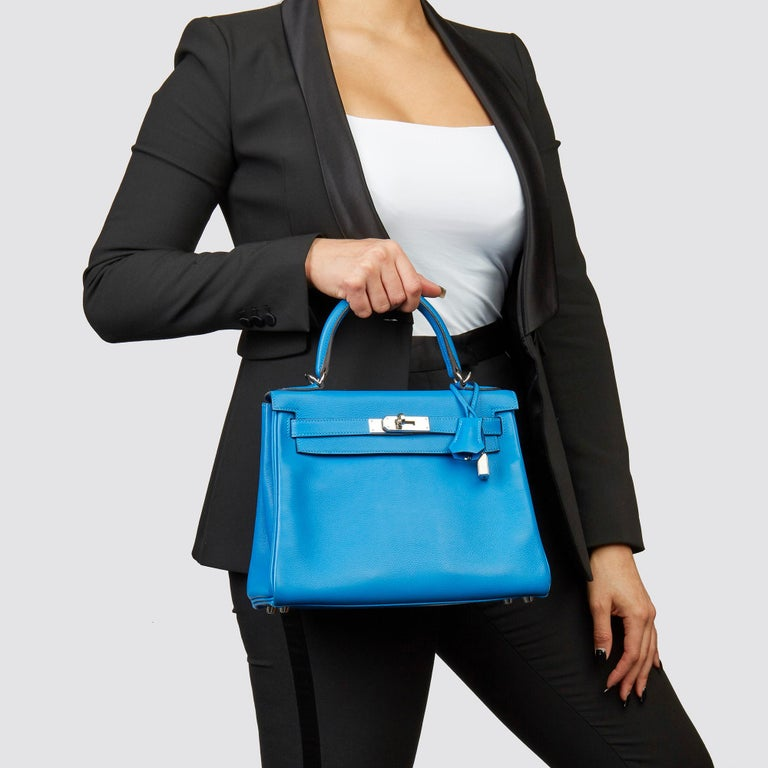 HERMÈS Blue Hydra Evercolour Leather Kelly 28cm Retourne   Xupes Reference: CB223 Serial Number: X Age (Circa): 2016 Accompanied By: Hermès Dust Bag, Box, Lock, Keys, Clochette, Rain Cover, Care Booklet, Rain Cover, Shoulder Strap  Authenticity