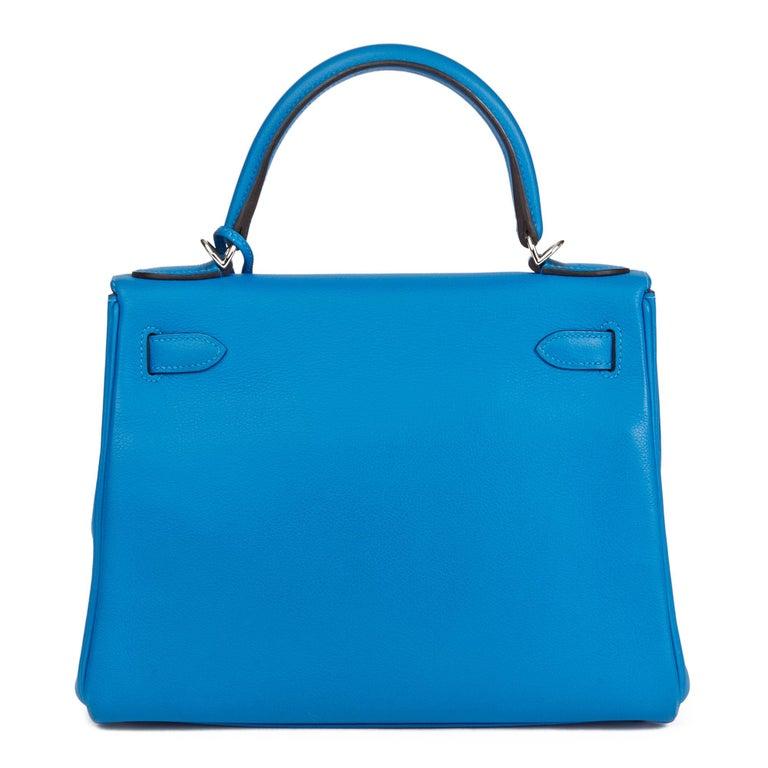 2016  Hermès Blue Hydra Evercolour Leather Kelly 28cm Retourne   For Sale 1
