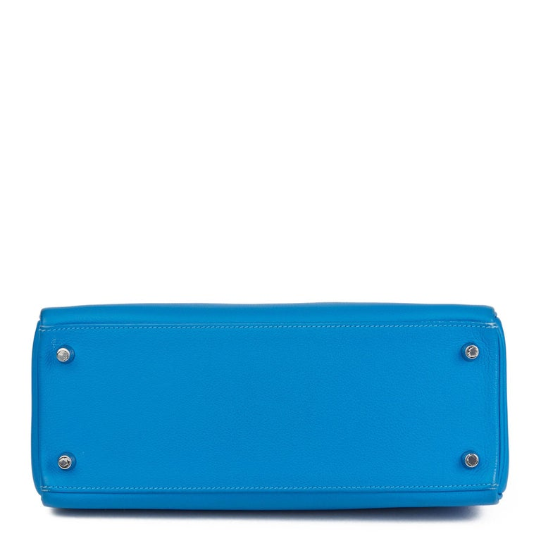 2016  Hermès Blue Hydra Evercolour Leather Kelly 28cm Retourne   For Sale 2