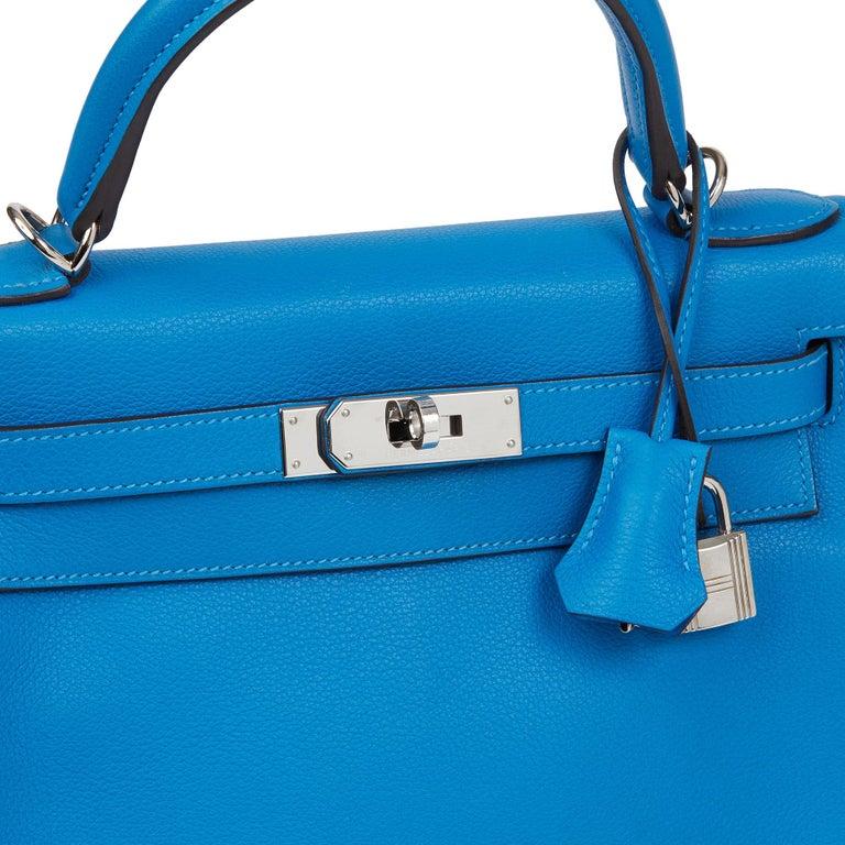 2016  Hermès Blue Hydra Evercolour Leather Kelly 28cm Retourne   For Sale 3
