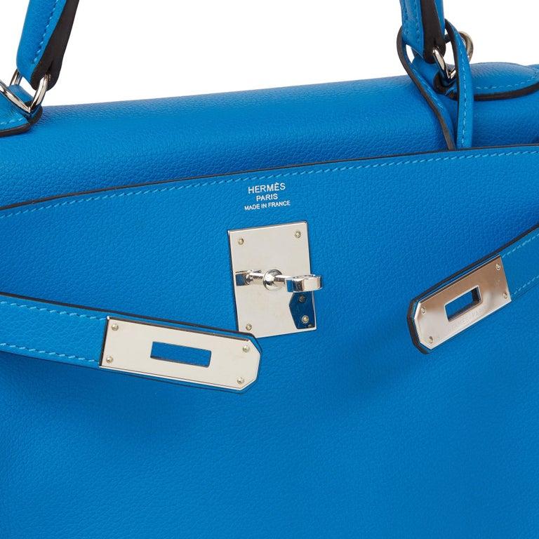 2016  Hermès Blue Hydra Evercolour Leather Kelly 28cm Retourne   For Sale 4