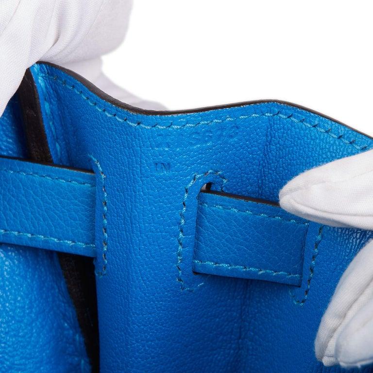 2016  Hermès Blue Hydra Evercolour Leather Kelly 28cm Retourne   For Sale 5