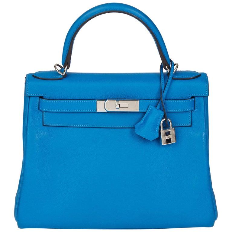 2016  Hermès Blue Hydra Evercolour Leather Kelly 28cm Retourne   For Sale
