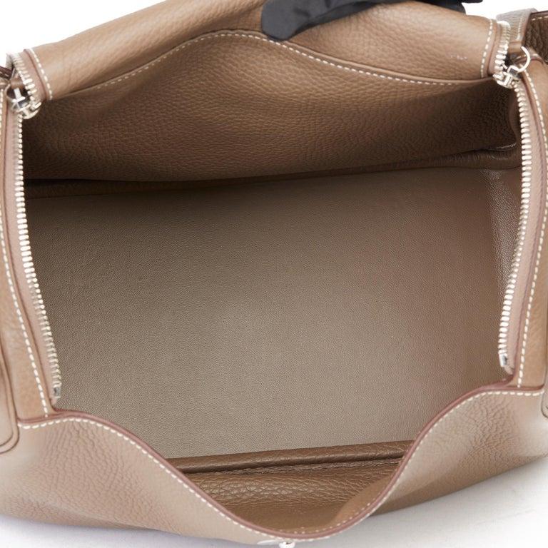 2016 Hermès Etoupe Clemence Leather Lindy 30cm For Sale 7