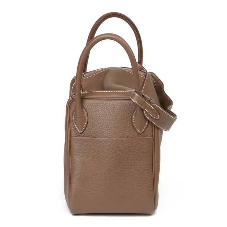 Women's 2016 Hermès Etoupe Clemence Leather Lindy 30cm For Sale