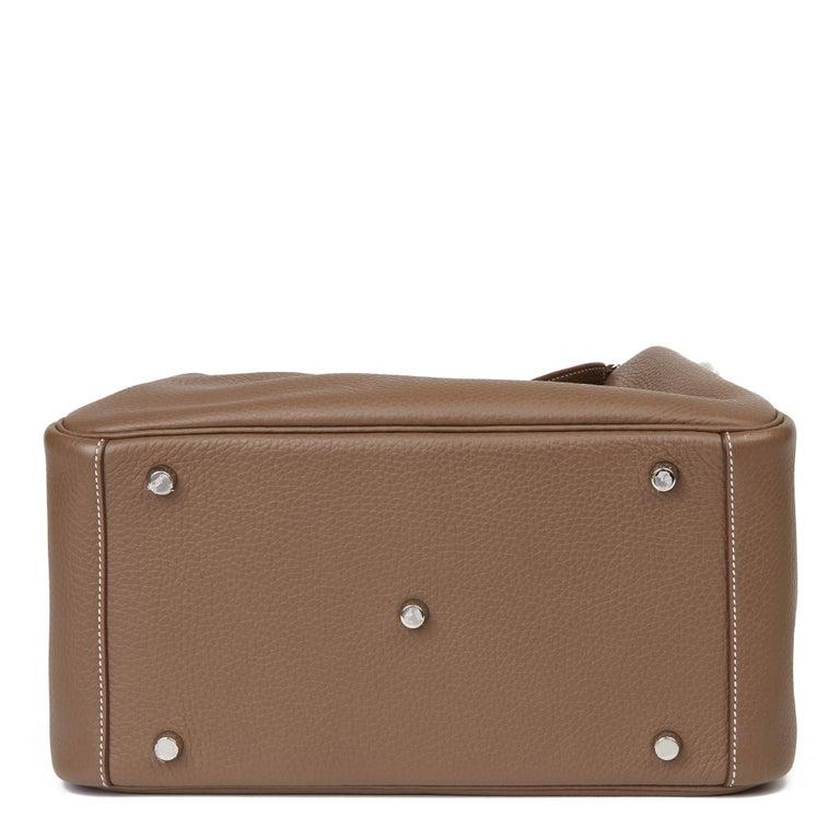 2016 Hermès Etoupe Clemence Leather Lindy 30cm For Sale 2