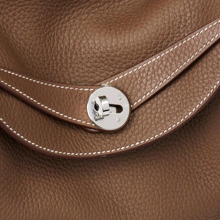 2016 Hermès Etoupe Clemence Leather Lindy 30cm For Sale 3