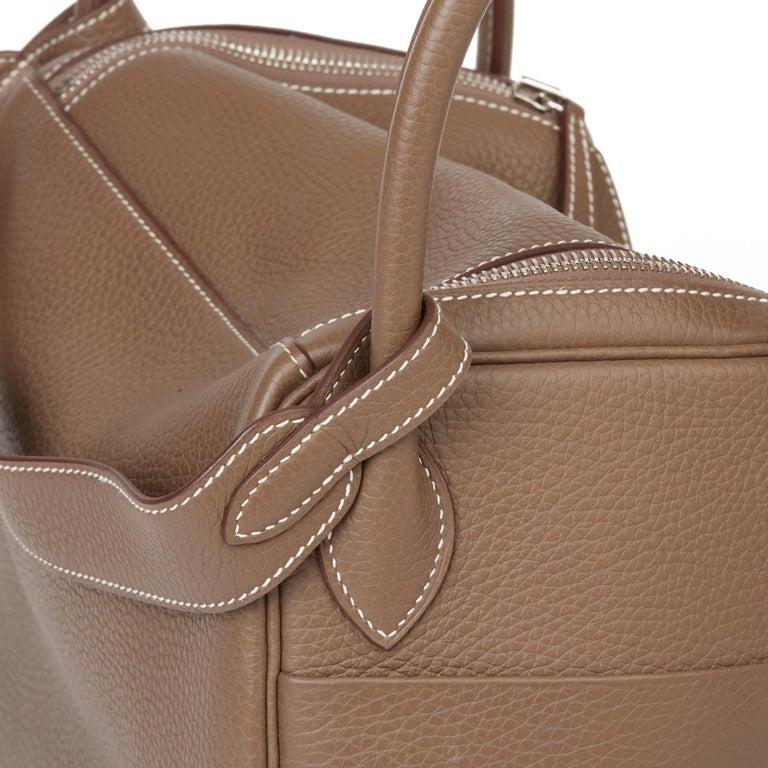 2016 Hermès Etoupe Clemence Leather Lindy 30cm For Sale 4