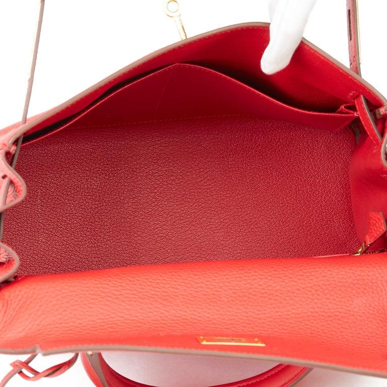 2016 Hermès Rouge Casaque Clemence Leather Kelly 28cm Retourne For Sale 5