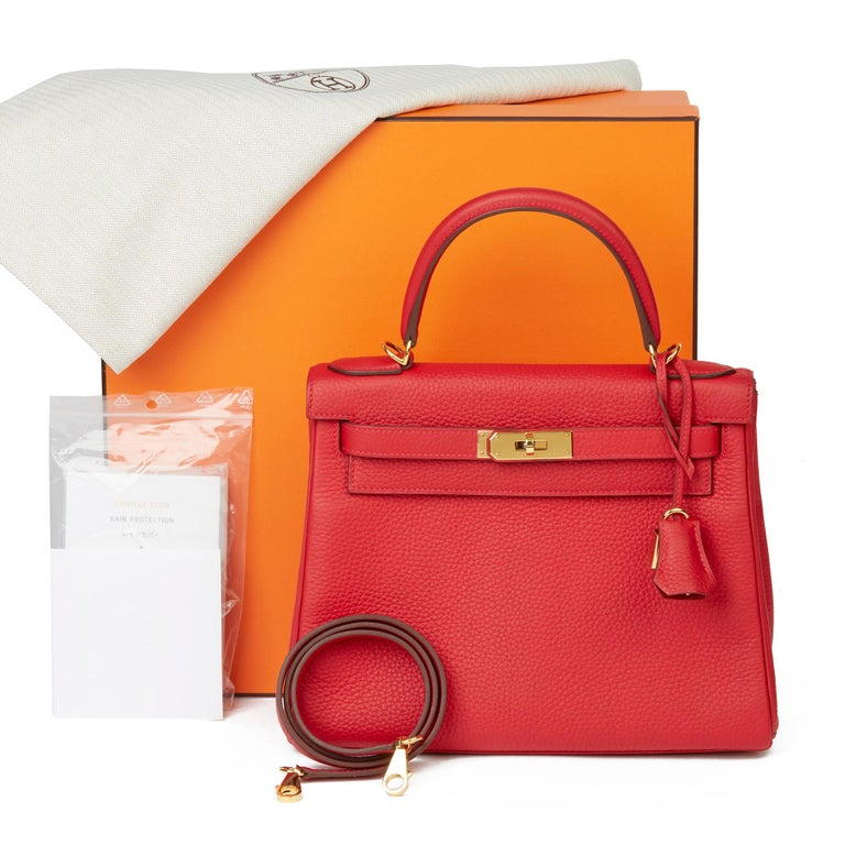 2016 Hermès Rouge Casaque Clemence Leather Kelly 28cm Retourne For Sale 6