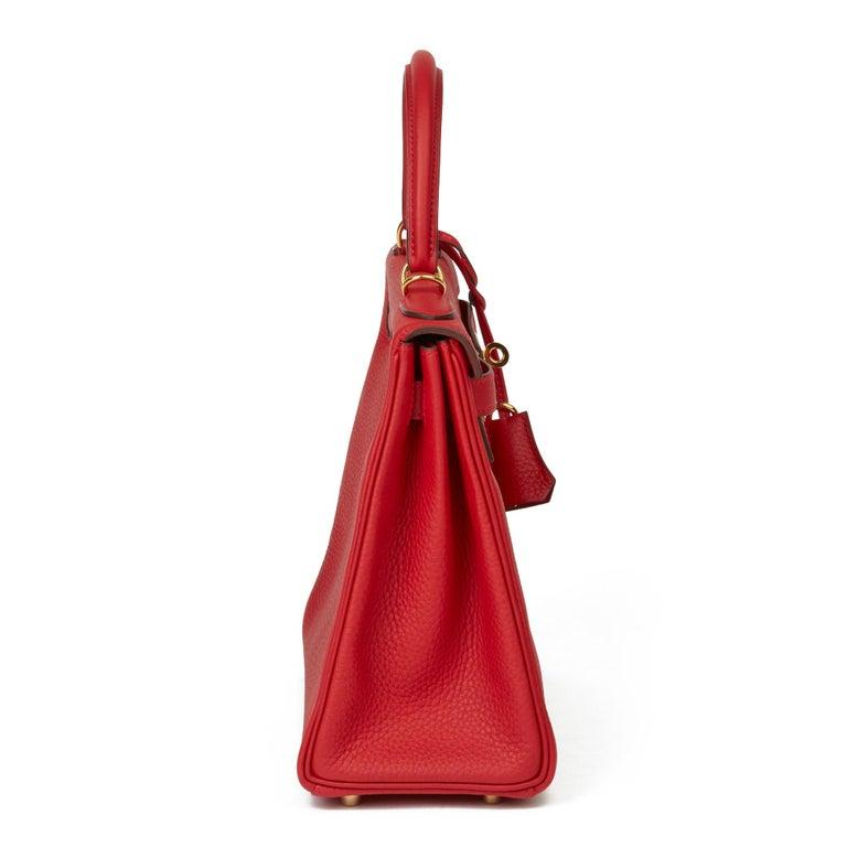 Red 2016 Hermès Rouge Casaque Clemence Leather Kelly 28cm Retourne For Sale