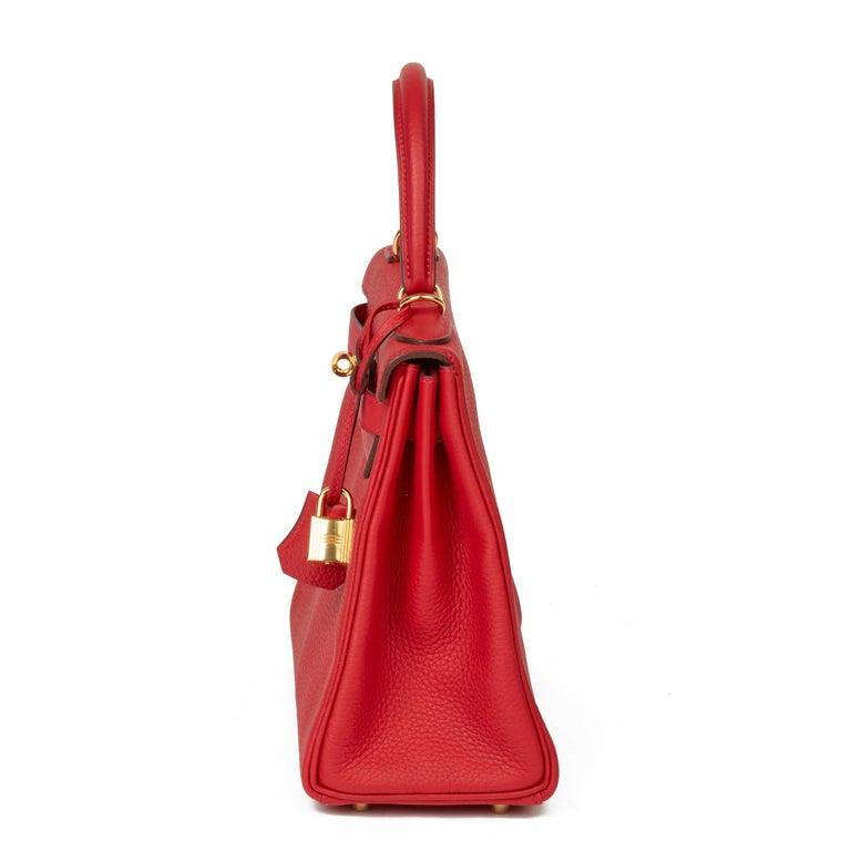 2016 Hermès Rouge Casaque Clemence Leather Kelly 28cm Retourne In Excellent Condition For Sale In Bishop's Stortford, Hertfordshire