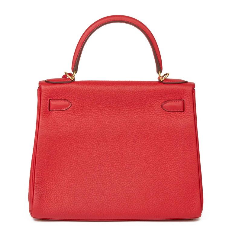 Women's 2016 Hermès Rouge Casaque Clemence Leather Kelly 28cm Retourne For Sale