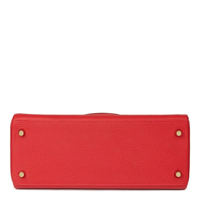 2016 Hermès Rouge Casaque Clemence Leather Kelly 28cm Retourne For Sale 1