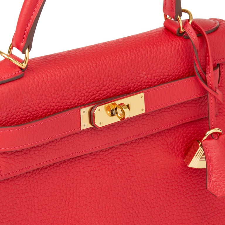 2016 Hermès Rouge Casaque Clemence Leather Kelly 28cm Retourne For Sale 2