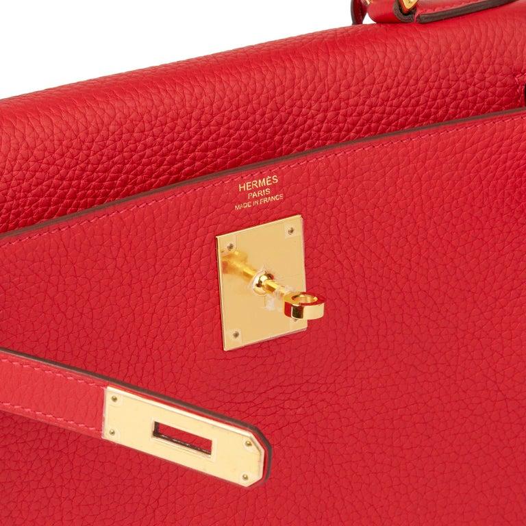 2016 Hermès Rouge Casaque Clemence Leather Kelly 28cm Retourne For Sale 3