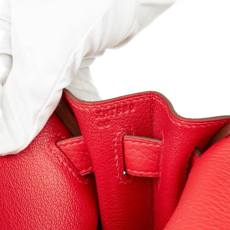 2016 Hermès Rouge Casaque Clemence Leather Kelly 28cm Retourne For Sale 4