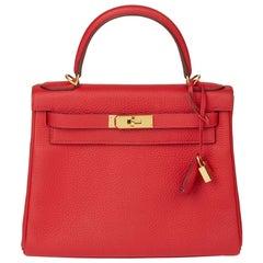 2016 Hermès Rouge Casaque Clemence Leather Kelly 28cm Retourne