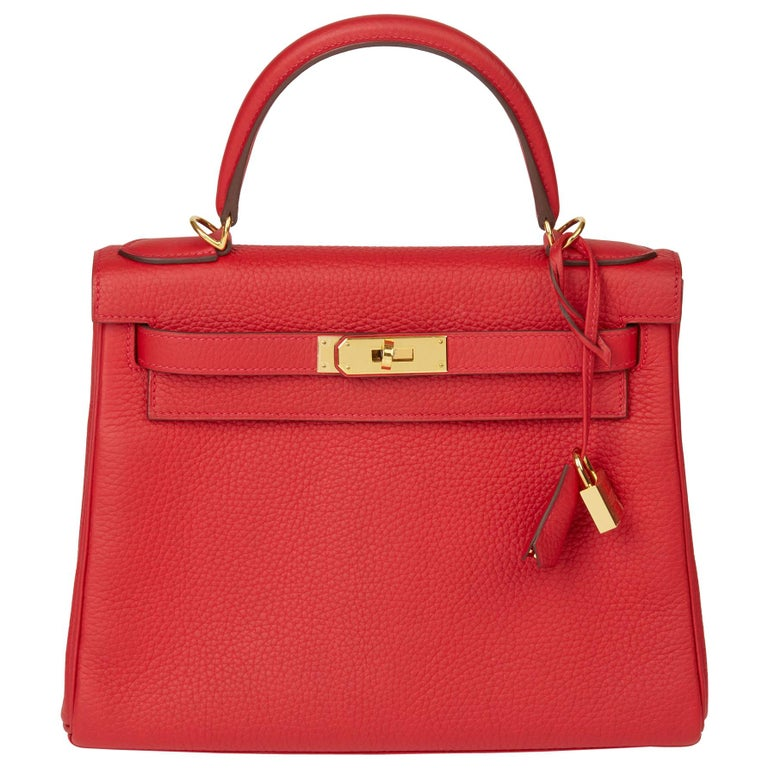 2016 Hermès Rouge Casaque Clemence Leather Kelly 28cm Retourne For Sale