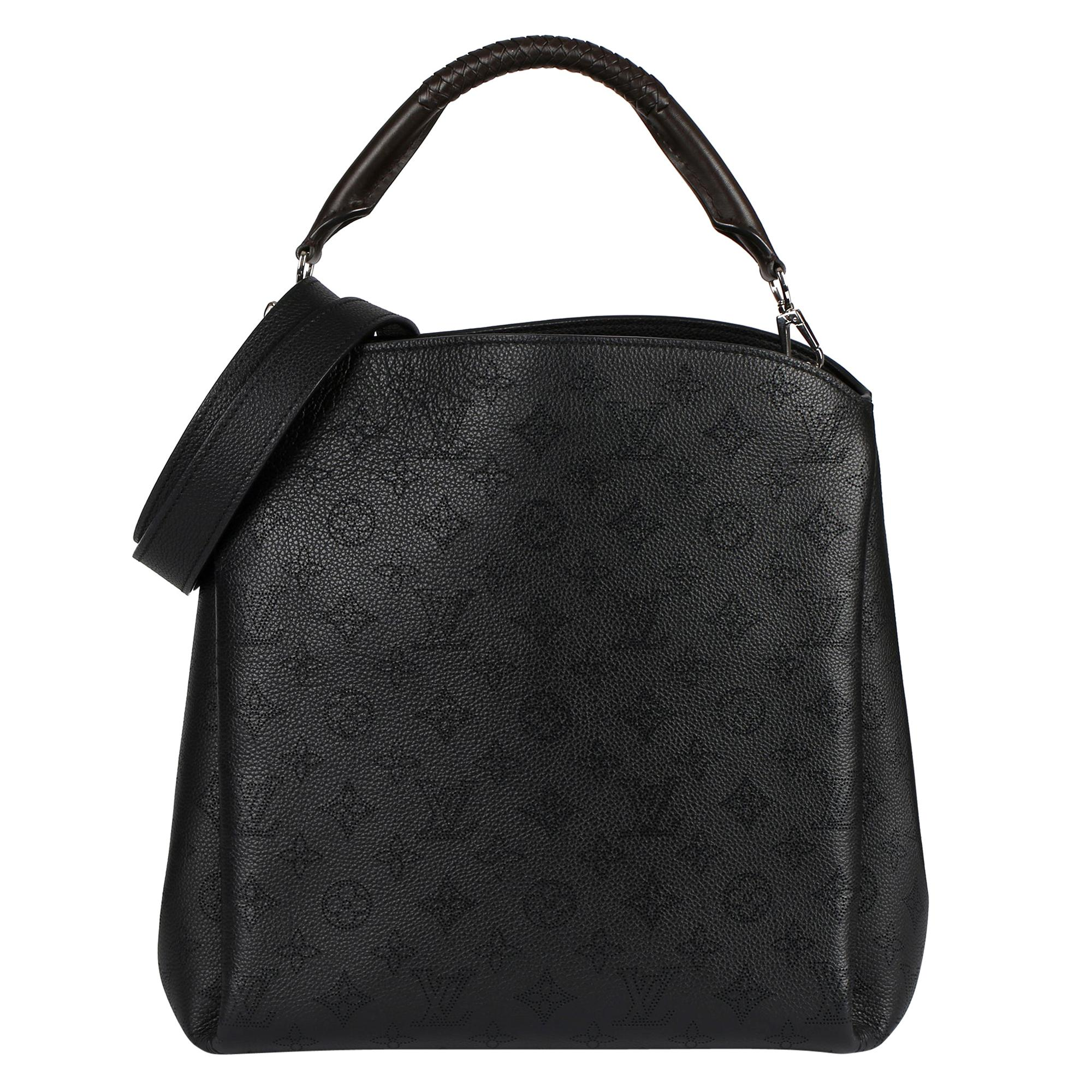 2016 Louis Vuitton Black Monogram Mahina Leather & Brown Leather Babylone MM