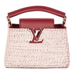2016 Louis Vuitton Burgundy Sequin Embellished Smooth Calfskin Leather Mini Capu