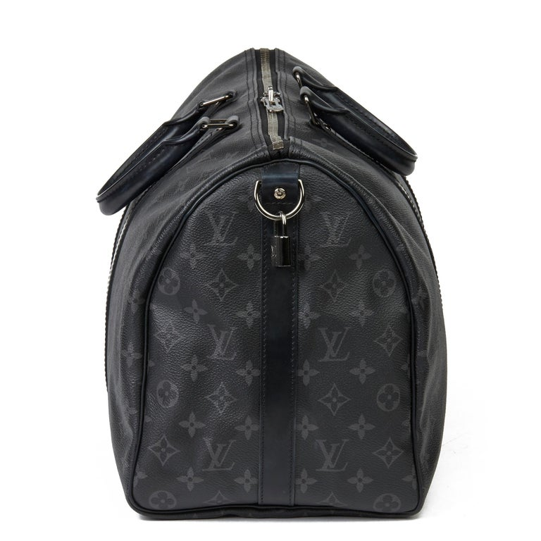 2016 Louis Vuitton Eclipse Monogram Coated Canvas Keepall Bandoulière 45 In Excellent Condition For Sale In Bishop's Stortford, Hertfordshire